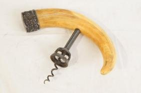 19th Carved Boar tusk Corkscrew