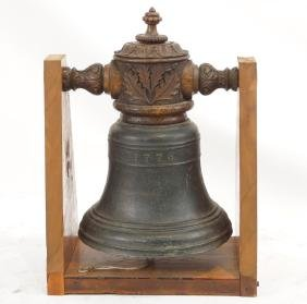 Antique 1776 Bronze bell highly wood carved
