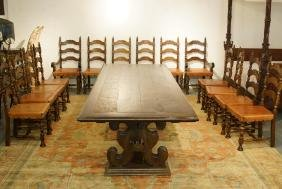 """Dining room table 119"""" x 45"""" w 14 leather chairs"""