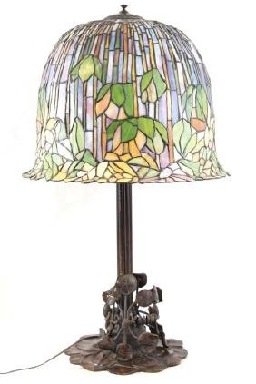Tiffany style Stained Glass & Bronze lamp