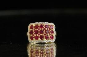 10 kt gold ruby & diam ring