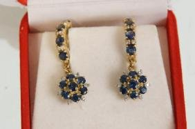 Italian gold Sapphire with Diamonds Earrings
