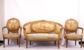 19th c. 3 pc French Aubusson Parlor Set