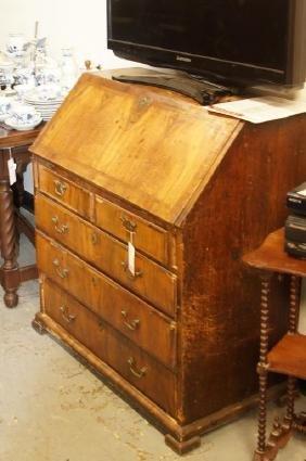19th cent Georgian walnut drop front desk