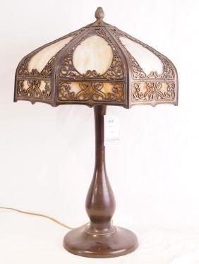 An Antique Slag Glass & Bronze Lamp