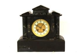 A French Antique Black Marble Mantle clock