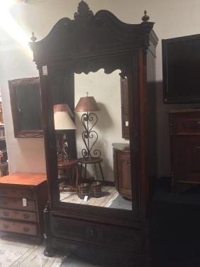 French Louis XVI armoire -beveled glass mirror