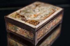 Chinese carved bone silver over bronze box