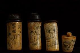 Antique Chinese erotic vessels & snuff - 4pcs