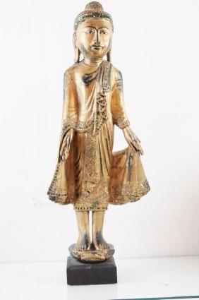 Thai wood carved Buddha statue