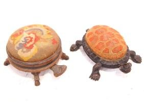 antique Turtle foot stool & foot stool/ spittoon