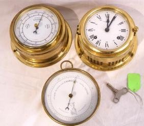 Ship's clock, Navy & 2 barometers