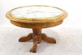 Clock table - oak pedestal