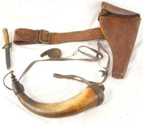 A Civil War Rig, powder horn Sheffield knife, perc