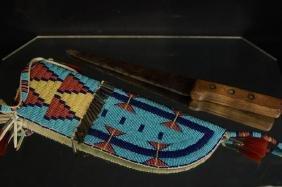 Beaded Native American knife & sheath
