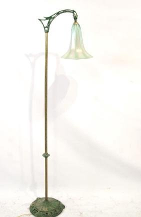 Vintage Floor Lamp with Favrile glass shade