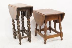 Two antique wood carved Drop Leaf side Tables
