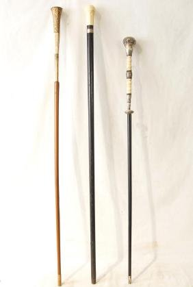 Collection of 3 fancy antique canes