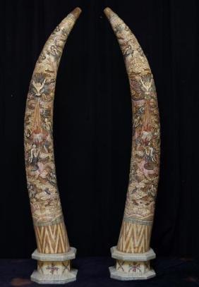 Chinese bone inlaid engraved tusks