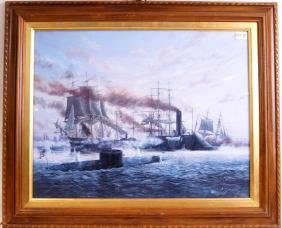 Battle of North & South litho