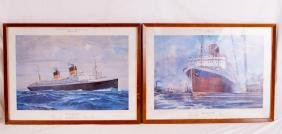 """Two lithographic prints of the """"Ile De France"""""""
