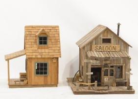 Two Miniature Model Western Saloon & Cabin