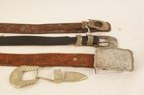 Three Vintage Silver Buckle leather Tooled belts