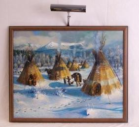 Kenneth Turner Oil on canvas Snow & tepees
