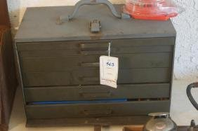Toolbox filled with taps dies wrenches
