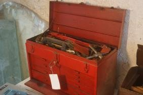 Tool Box filled with drill bits & misc tools