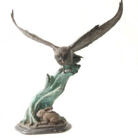 Leonardo Rossi bronze sculpture of Owl in flight Leonar