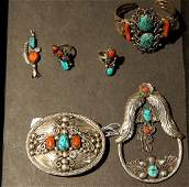 Fine Old Pawn Navajo Silver Jewelry, buckle +