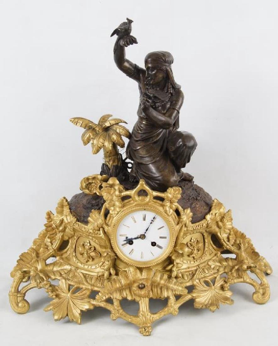 Outstanding Louis Sauvageau French figural Bronze Clock