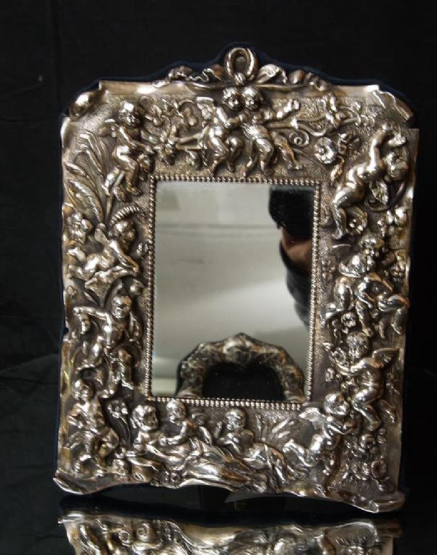 Sterling embossed antique picture frame w cupids