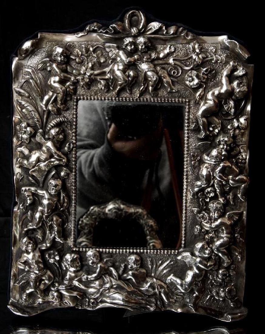 Sterling embossed antique picture frame w cupids - 2