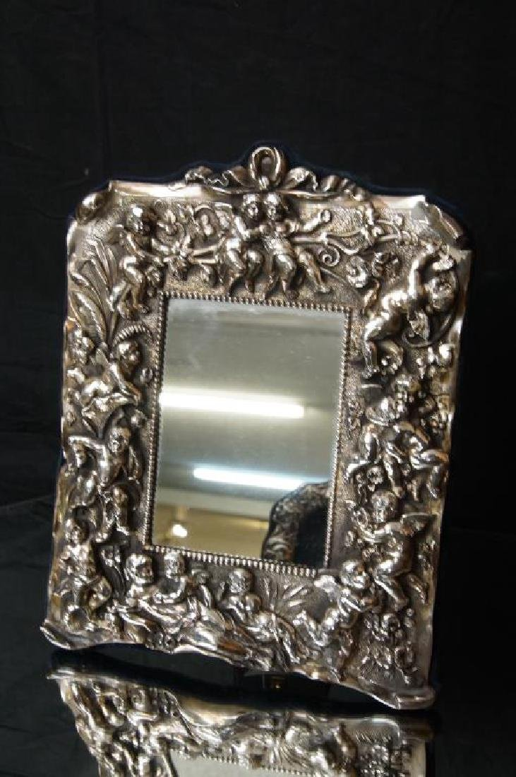Sterling embossed antique picture frame w cupids - 3