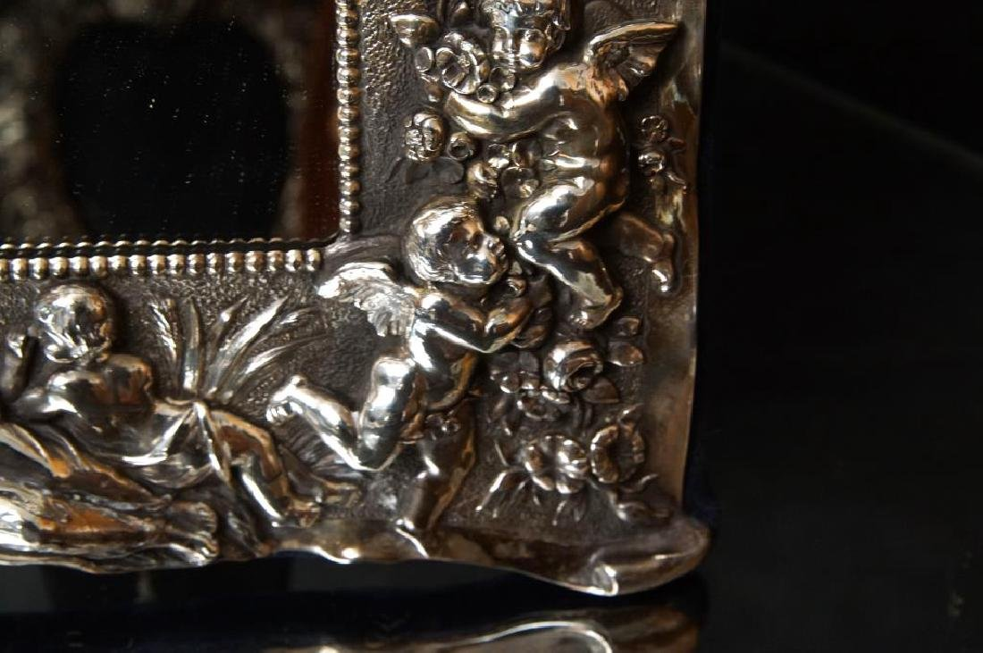 Sterling embossed antique picture frame w cupids - 5