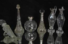 Six Antique Crystal and sterling vessels