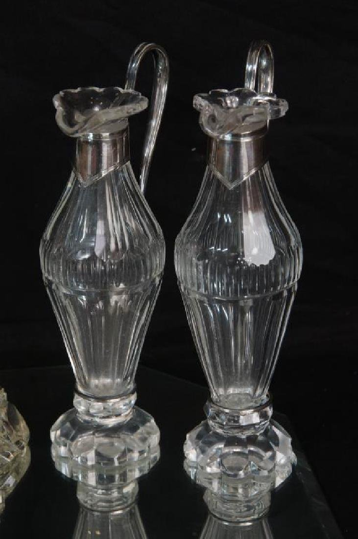 Six Antique Crystal and sterling vessels - 2