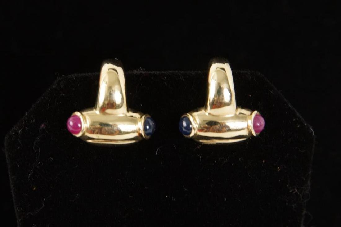 14kt Earrings w rubies & sapphires - 2