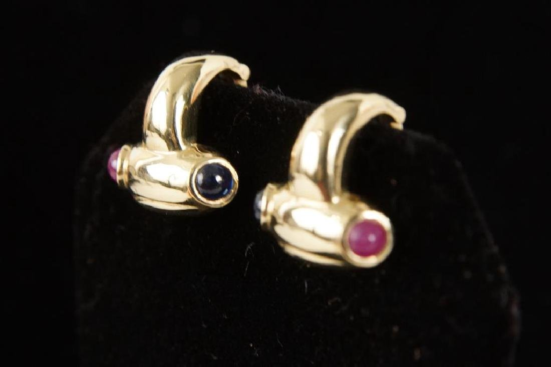 14kt Earrings w rubies & sapphires - 4