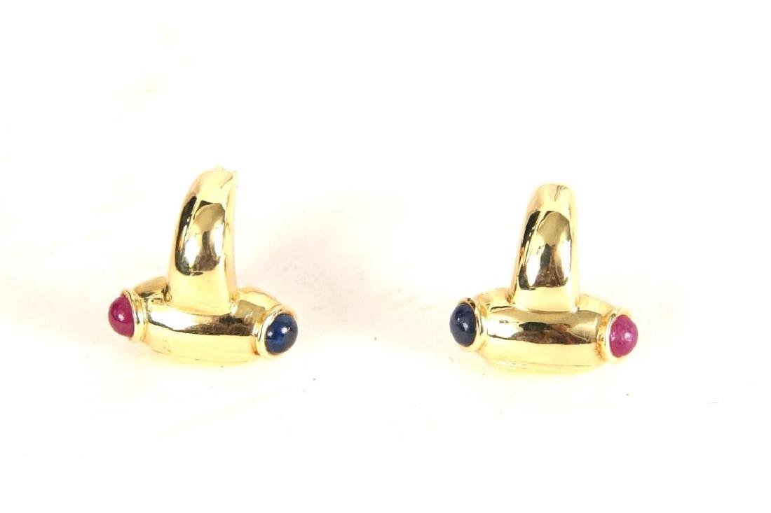 14kt Earrings w rubies & sapphires - 5