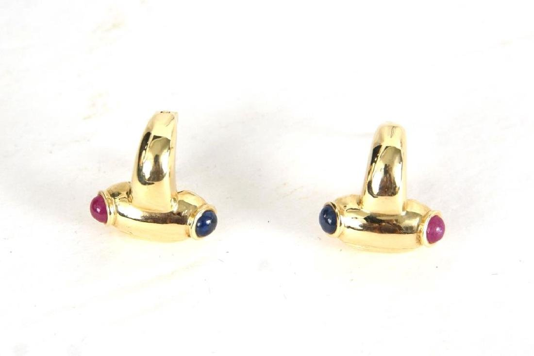 14kt Earrings w rubies & sapphires - 6