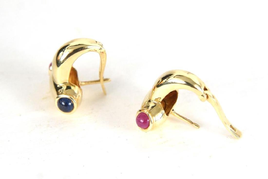 14kt Earrings w rubies & sapphires - 7