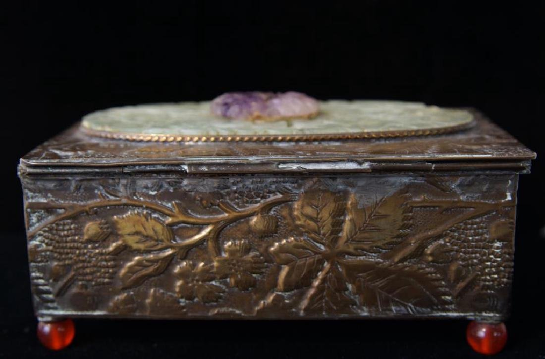 Fine Chinese bronze & Jade jewelry box