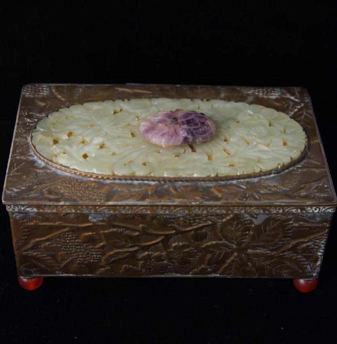 Fine Chinese bronze & Jade jewelry box - 7
