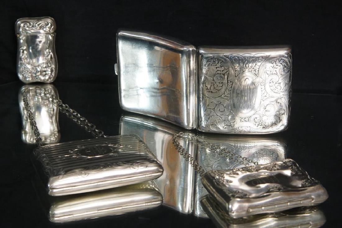 Antique Silver Purses, cigarette & match cases