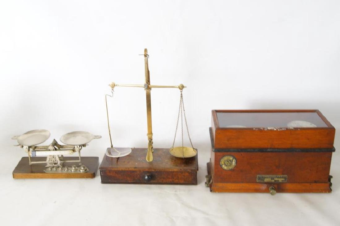 Three small Antique scales