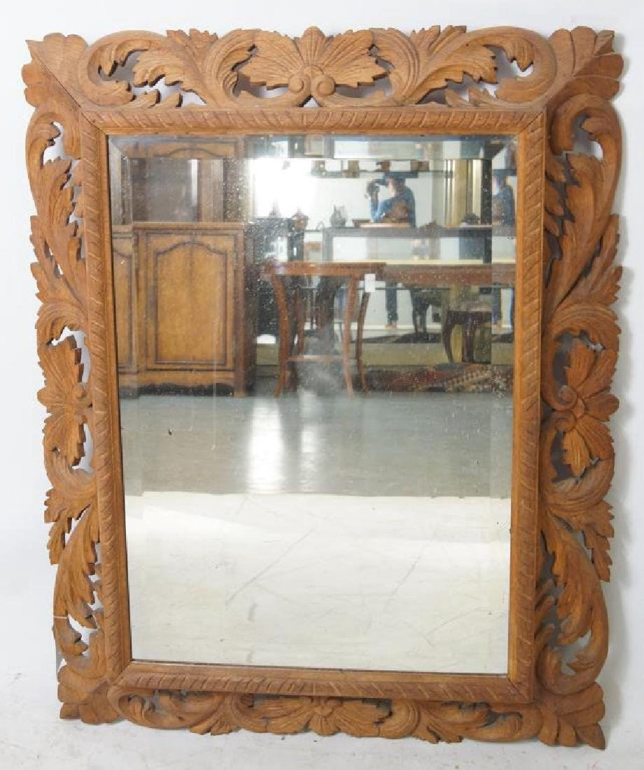 Wood carved beveled mirror - 2