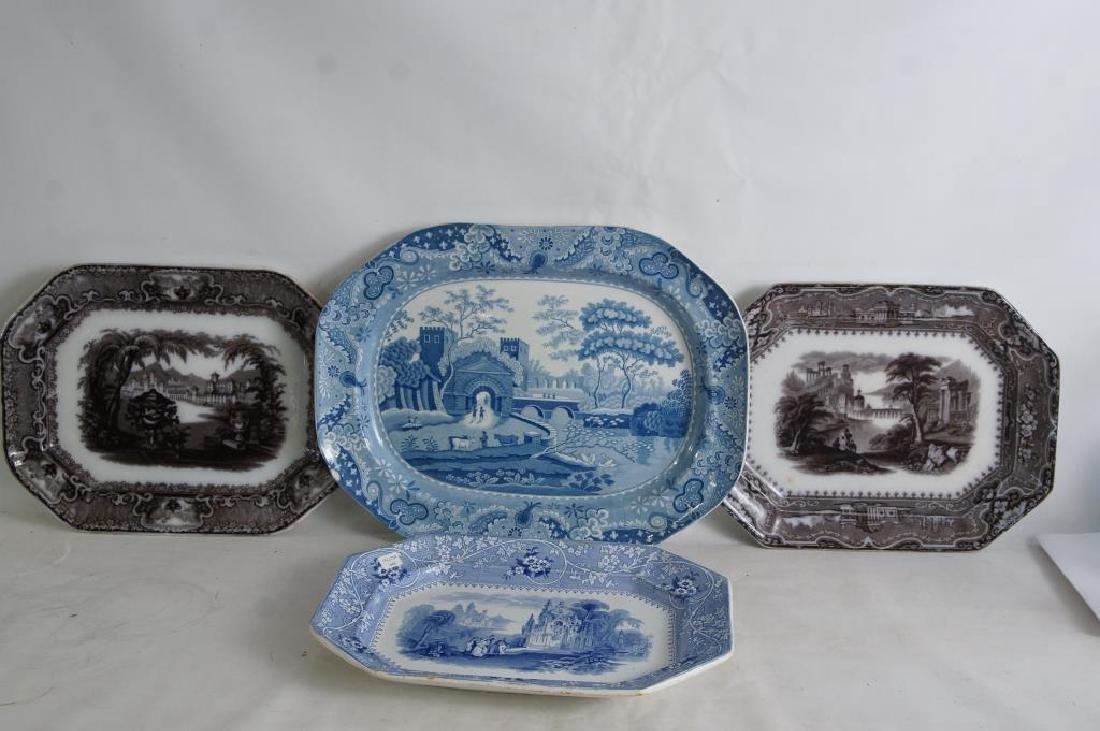 19th cent platters - Adams 1840, ...